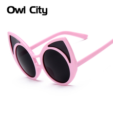 Cat Eye Sunglasses Women Vintage Points Oversized Sun Glasses Summer Style Big Black Pink Eyewear(China)