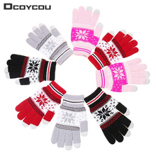 1 Pair Knitted Snowflake Pattern Gloves for Women Men Winter Warm Touchable Screen Gloves for Mobile Phone Pad Tablet