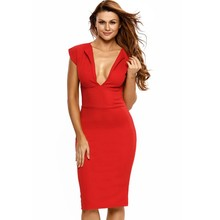 Casual red dresses for woman 2017 hot selling products online cheap jersey midi dress sexy deep v neck vestido de festa A6177
