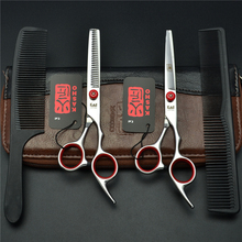 4Pcs Suit 6 Inch Red KASHO Professional Human Hair Scissors Hairdressing Sears Combs + Cutting Scissors + Thinning Shears H1001(China)