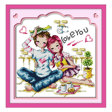 Joy Sunday Chinese crossstitch kits set Romance partners kids DMC14CT11CT cottonfabric home baby room hotel painting wholesale