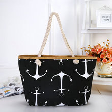 Rdywbu Women Large Capacity Summer Bag Hemp Rope Straw Weave Printed Anchor Canvas Bag Shopping Big Tote Beach Bag 6 Colors H191