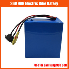 free customs fee 36V 500W Electric Bike battery 36V 9AH lithium battery 36V Use samsung cell with PVC case BMS 42V 2A charger(China)