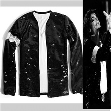 MICHAEL JACKSON BILLIE JEAN SEQUIE JACKET GLOVE MJ COSTUME FOR GIFT PERFORMANCE IN 1990S