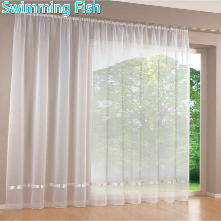 Price by Piece Quality white all-match window screens curtain tulle sheer curtian solid voile curtain with ribbon 295cm Height