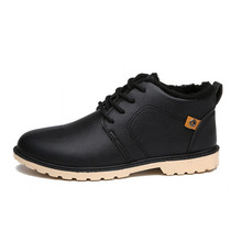 Low Top Motorcycle Ankle Boots For Man Booties Autumn Winter Casual Male Boots Lace-up Soft PU Leather Black Men Shoes