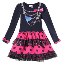 novatx H5478 Girls floral long sleeve Dresses autumn winter baby girls wear fashion children's clothes for girl dresses hot(China)