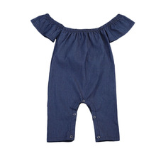 Summer Baby Girl  Denim Romper Ruffles Sleeves Solid Blue Newborn Baby Rompers Toddler Kids Jumpsuit Outfits Sunsuit