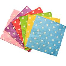 20 PCS / Pack Colorful Dot Party Paper Napkin 100% Virgin Wood Napkin 33X33CM 2 Ply Red / Pink / Yellow / Green / Blue / Purple