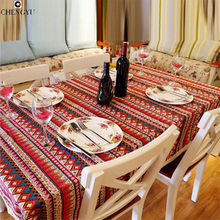 Mediterranean Bohemian national style cotton linen lace tablecloths Dinner table cloth striped Home Decoration Table Cover
