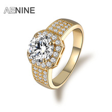 AENINE Luxury Jewelry Queen Rings Silver/ Rose Gold Color Micro Pave Clear AAA Cubic Zircon Classic Ring For Women R170060320G