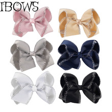 4Inch Boutique Hair Bow Big Sweet Girls Grosgrain Ribbon Bows WIth Hair Clips Children Wedding Birthday Holiday Pageant(China)