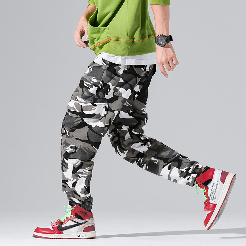 Fashion Streetwear Men's Jeans Hip Hop Jogger Pants Big Pocket Loose Fit Cargo Pants Men Gray Camouflage Military Army Pants