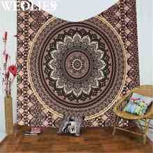 Polyester Indian Mandala Gold Tapestry 200X145cm Wall Hanging Art Throw Bedding Bedspread Throw Blanket Home Decor Textiles
