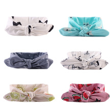 Fashion Kid Child Baby Head Wrap Top Knot Print Big Bow Vintage Headbands Retro Scarf Infants Headwear Girl Hair Accessories