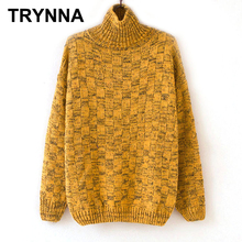 Women Knitting Warm Dark Yellow Loose Thick Winter Sweater Pullover(China)