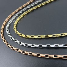 2.0mm Width Gold-color Stainless Steel Box Chain, Rose Gold  Color Rolo Necklace Customizes Floating Locket Chain Jewelry