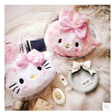 Hello Kitty Wind Plush Style Cute Makeup Bag Pink Lovely Large Capacity Makeup Organizer Vanity Necessaire Travel Cosmetic Bag(China)