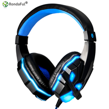 Hot Stereo Surround Gaming Headset 3.5mm Wired Headphone with Mic for PC Computer Gamer Over Ear USB LED Luminous