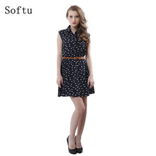 Softu Hot Sale Women's Fashion Summer Casual Shirts Dress Sleeveless Tank Knee Length A Line Dress Cat Printed Dresses With Belt
