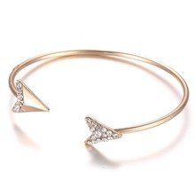 Spring Summer Bangles Cuff Bangles Crystal Rhinestone Arrow Charms gold color Wristband Open Bracelet for Women Jewelry Party