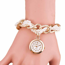 Essential 2017 New Fashion Twist Pearl Gold Quartz Watch Rhinestone Women Dress Watches holiday,celebration, birthday gift(China)