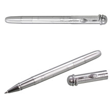 MONTE MOUNT Best Design Stainless Steel Metal pen Snake Clip Silver Roller Ball Pen ink black Refill office supplies Writing pen(China)