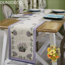 DUNXDECO Table Runner Linen Cotton Jacquard Tablecloth Spring Summer Lilac Lavender Bar Coffee Store Mesa Cover Fabric Decor