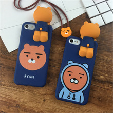 Korea 3D cartoon Cute Honey Apeach Ryan phone Case For Apple iPhone 7 case 6 6S 7 Plus Super Ryan Cover and with Lanyard Strap