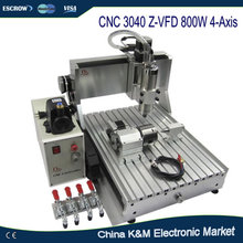 High precision CNC 3040 Z-VFD 800W 4-Axis 3D milling router wood CNC engraving machine(China)