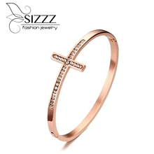 SIZZZ New Products Listed In Europe And the United States Trendy Jewelry 6.2CM Stainless Steel Cross Rose Gold Bangle For Women