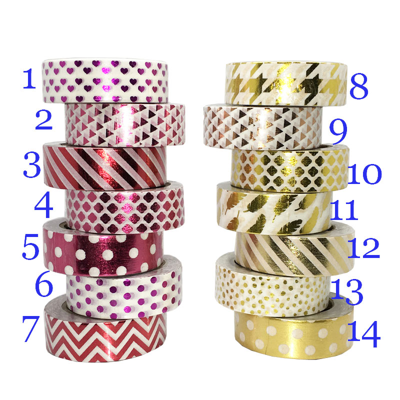 Dot Feather 10M*1.5CM Washi Paper Tape Gold Foil Printing DIY Sticky Deco Masking Japanese Washi Paper Tape<br><br>Aliexpress