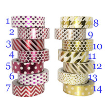 Dot Feather 10M*1.5CM Washi Paper Tape Gold Foil Printing DIY Sticky Deco Masking Japanese Washi Paper Tape(China)