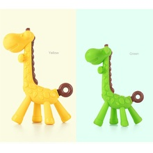 Baby Teether Teething Toothbrush Stick Safety Silicone Dental Care Giraffe Animal Funny Infant Pacifier Teething Clips Exercise
