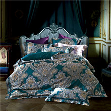 High density Silk Cotton Jacquard Luxury Bedding set Europe Palace style Duvet cover set Bedsheet bed linen Queen King size 4Pcs(China)