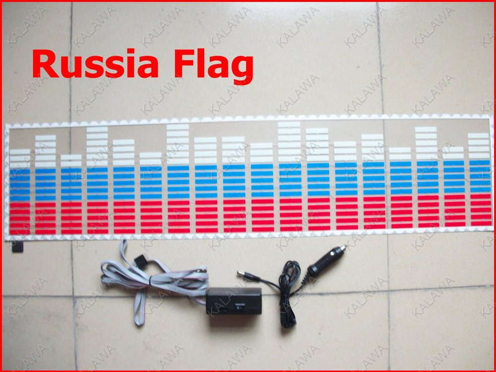 Russian Flag looking EL sheet Voice lights Car Equalizer Music Light Rhythm Lamp Cool flashing car sticker film<br><br>Aliexpress
