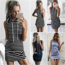 Sexy Women Hooded Bodycon Sleeveless Tennis Dress Sexy Sports Mini Dress