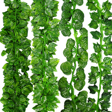 12pcs/Lot 2m Artificial Ivy Leaf Garland Plants Vine Fake Foliage Flowers Plastic Plants For DIY decoration Free Shipping