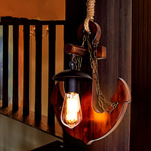 American Village Bar Bedroom Restaurant Retro Wall Lamp Mediterranean Chinese Style Wood Creative Rope Wall Light Free Shipping(China)