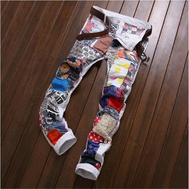 Free shipping 2017 Cool Mens Designer Clothes Fashion Denim Jumpsuit white Skinny Destroyed Ripped punk Jeans Classical designÎäåæäà è àêñåññóàðû<br><br>