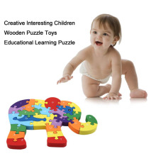 Creative Interesting Children Kids Wooden Puzzle Toys Educational Learning Letter Number Elephant Shape Puzzle Toy New Hot