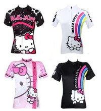 100% Polyester 2017 woman hello kitty Cycling Jersey Breathable Cycling Clothing Ciclismo/Quick-Dry Bicycle Bike Clothes