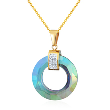 2017 New Top Quality Multi Faceted 4 Colors Shiny Glass Pendant Stainless Steel Circle Woman Necklace Pendant Jewelry Wholesale(China)