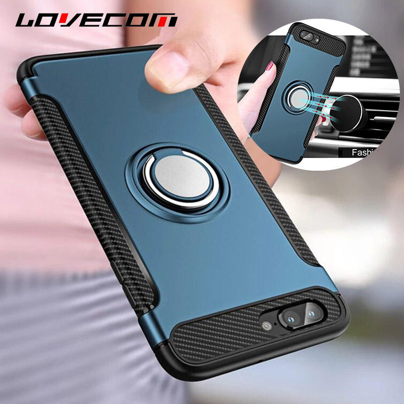 LOVECOM iPhone 8 Plus Anti-knock Case Soft TPU Full Body Magnetic Protective Phone Cases Armor Ring Holder Rubber Cover Bags