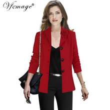 Vfemage Womens Autumn Winter Notched Floral Lapel Pockets Buttons Wear to Work Office Business Outwears Jackets Top Blazer 10083(China)