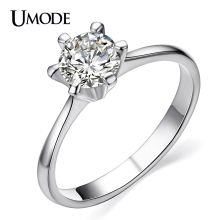 UMODE Classic Simple Design 6 Prong Sparkling Solitaire 1ct Cubic Zirconia forever Wedding Ring bijoux Birthday Gift JR0012B
