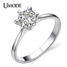 UMODE Classic Simple Design 6 Prong Sparkling Solitaire 1ct Cubic Zirconia forever Wedding Ring bijoux Birthday Gift JR0012B(China)