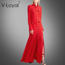 The spring and autumn new slim long sleeved dress put on red dress single breasted(China)