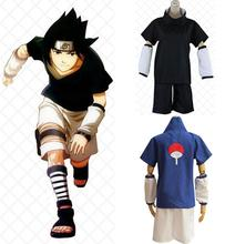 Anime Naruto Uchiha Sasuke Black/Blue Uniform Cosplay Costumes Sasuke Full Set Costume ( Top + Shorts + Oversleeve +Leg guard )