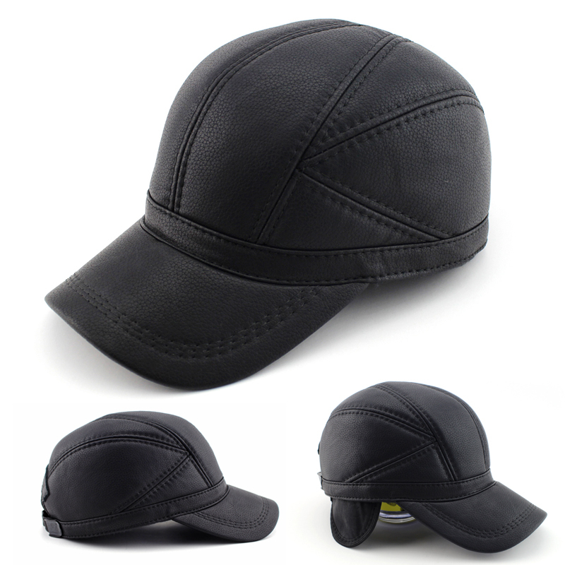 BFDADI High quality Faux Leather hat genuine winter leather hat baseball cap adjustable for men black hats Free Shipping<br><br>Aliexpress